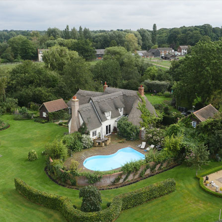 Aerial Photography thatched house 2