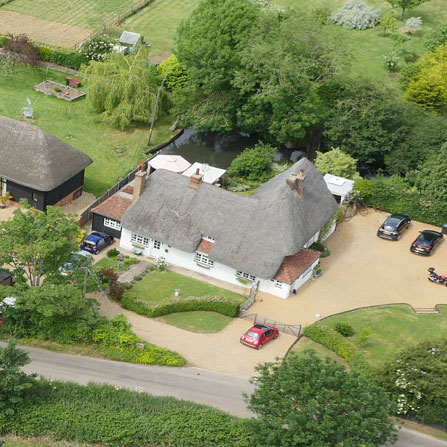 Aerial Photography thatched house